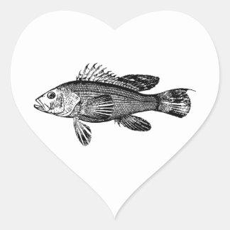 Adesivo Coração Coleção do mar do pescador dos peixes