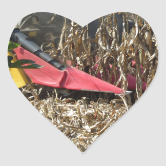 Adesivo Coração Colheita do milho da colheita mecanizada no campo