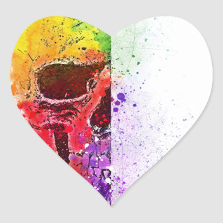 Adesivo Coração Colorful Skull - Caveira Colorida