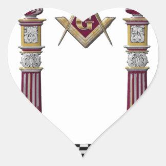 Adesivo Coração Colunas maçónicas