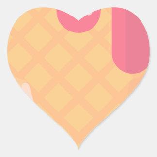 Adesivo Coração Cone bonito do sorvete