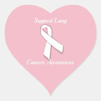 Adesivo Coração Consciência do câncer pulmonar do apoio -