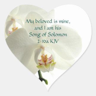 Adesivo Coração Convite cristão do casamento da orquídea branca