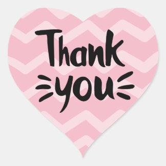 Adesivo Coração Cor-de-rosa & cora o obrigado que do preto das