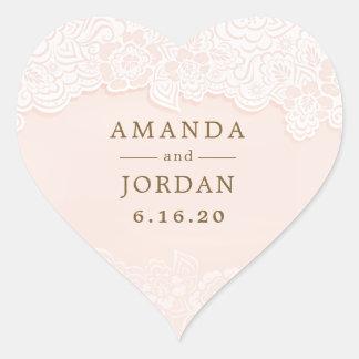 Adesivo Coração Cora o casamento floral cor-de-rosa do laço