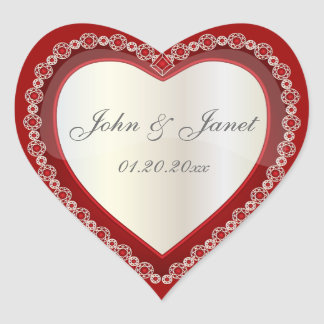 Adesivo Coração Coração branco vermelho escuro brilhante da jóia