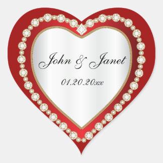 Adesivo Coração Coração branco vermelho escuro da jóia do diamante