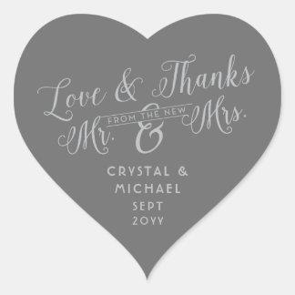 Adesivo Coração Coração cinzento - amor de prata e obrigados que