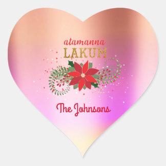 Adesivo Coração Coração cor-de-rosa de Ombre do ouro árabe do