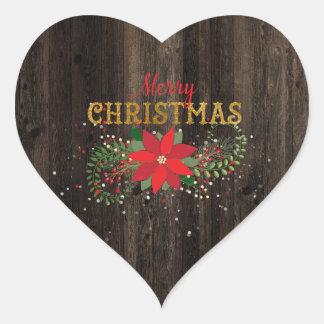 Adesivo Coração Coração de madeira inglês do Feliz Natal rústico