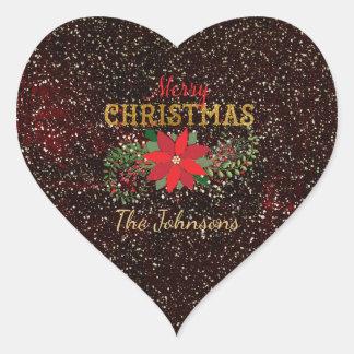 Adesivo Coração Coração do ouro do marrom do brilho do Feliz Natal