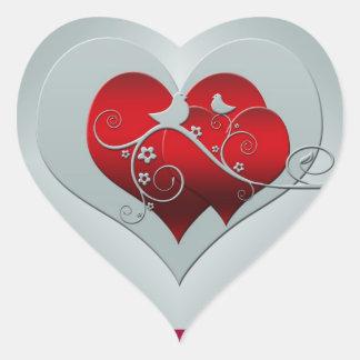 Adesivo Coração Coração e pombas na prata e no vermelho
