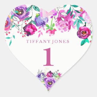 Adesivo Coração Coração floral cor-de-rosa roxo do amor do