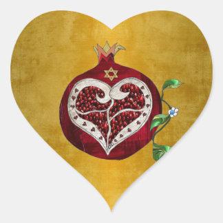 Adesivo Coração Coração Hanukkah Rosh Hashanah da romã de Judaica