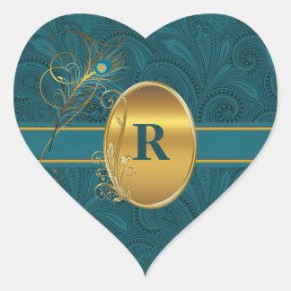 Adesivo Coração Coração Monogrammed do casamento da cerceta do