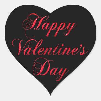 Adesivo Coração Coração preto vermelho do brilho do feliz dia dos