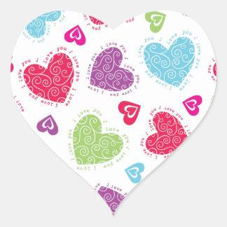"""Adesivo Coração Corações bonitos do dia dos namorados e o """"eu te"""