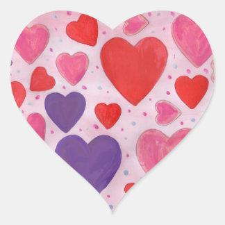 Adesivo Coração Corações do dia dos namorados no rosa, no roxo &