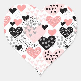 Adesivo Coração Corações e teste padrão de pontos tirados mão
