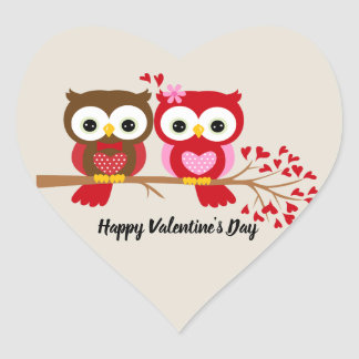 Adesivo Coração Corujas de feliz dia dos namorados
