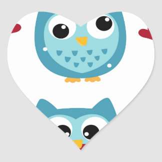 Adesivo Coração Corujas maravilhosas azuis no branco
