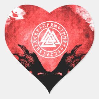 Adesivo Coração Corvos de Huginn e de Muninn Odin