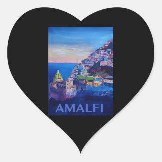 Adesivo Coração Costa retro Italia de Amalfi do poster