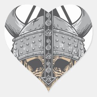 Adesivo Coração Crânio de Viking