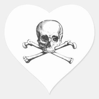 Adesivo Coração Crânio e Crossbone do pirata