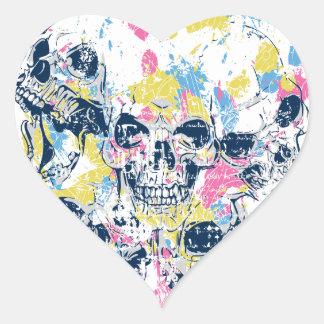 Adesivo Coração crânios coloridos do vintage