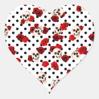 Adesivo Coração Crânios e rosas