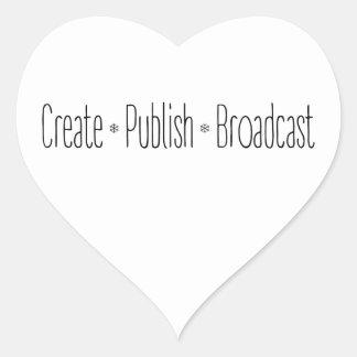 """Adesivo Coração """"CRIAR  •  PUBLIQUE  •  A TRANSMISSÃO"""", texto,"""