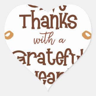 Adesivo Coração Dê obrigados com um coração grato