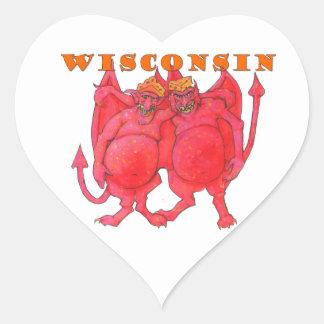 Adesivo Coração Demónios de Wisconsin Cheesehead