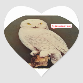 Adesivo Coração desenho branco da coruja