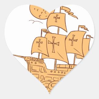 Adesivo Coração Desenho da lua do navio de navigação de Caravel