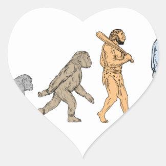 Adesivo Coração Desenho de passeio da evolução humana