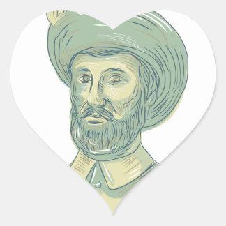 Adesivo Coração Desenho do busto de Juan Sebastian Elcano