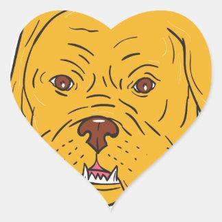 Adesivo Coração Desenhos animados da cabeça de cão do Bordéus