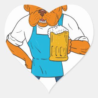 Adesivo Coração Desenhos animados da mascote da caneca do