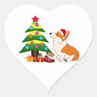 Adesivo Coração Desenhos animados do Corgi de Galês do feriado com