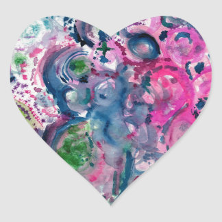 Adesivo Coração design abstrato colorido do divertimento