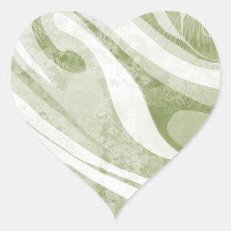 Adesivo Coração Design abstrato das ondas verdes