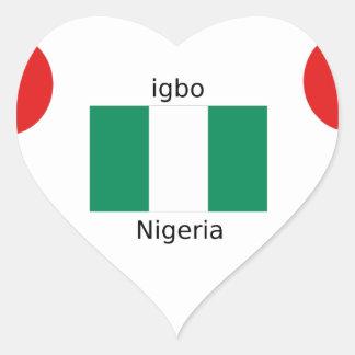 Adesivo Coração Design da língua da bandeira e do Igbo de Nigéria