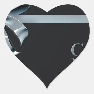 Adesivo Coração Design do arco da fita da prata da venda de
