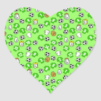 Adesivo Coração Design do futebol com camisas verdes