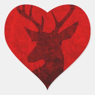 Adesivo Coração Design do veado vermelho