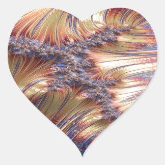 Adesivo Coração Design reflexivo tripartido do fractal do por do
