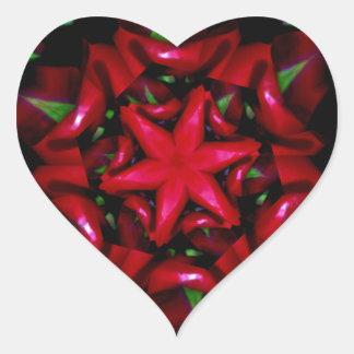 Adesivo Coração design verde e vermelho da flor do kaleido