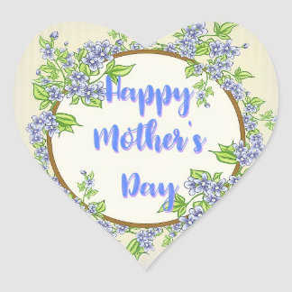 Adesivo Coração Dia das mães floral azul
